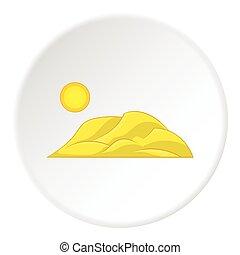 Mountain and sun icon, cartoon style
