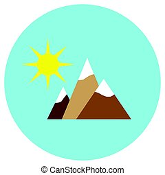 Mountain and sun icons in a flat style. Vector image on a round colored background. Element of design, interface