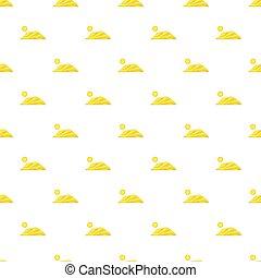 Mountain and sun pattern, cartoon style