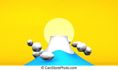 Mountain And Sun Yellow Background. 3D render Animation For...
