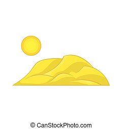 Mountain and the sun icon, cartoon style
