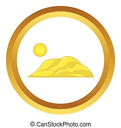 Mountain and the sun vector icon