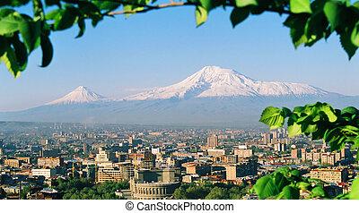 Mountain Ararat, city Yerevan, Armenia.