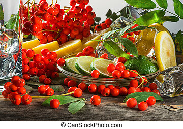 Mountain ash berries on branches with leaves and the cut...