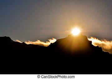 Mountain at sunset