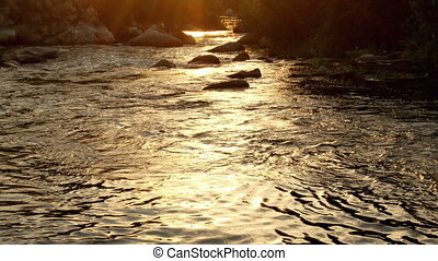 Mountain autumn water river - Surface of the water river...