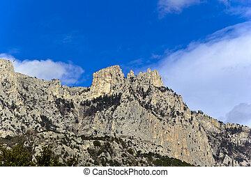 Mountain Ay-Petri and clouds above. Town Alupka, Big Yalta...