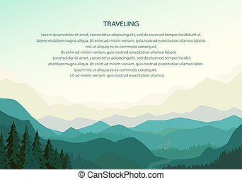 Mountain background landscape, natural travel backdrop, hills silhouette. Vector