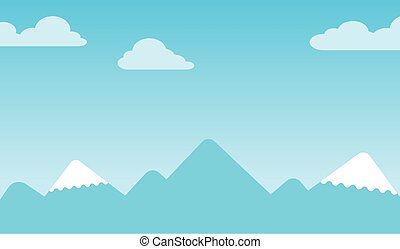Mountain background with silhouettes of snow-capped conical peaks under a blue sky with clouds, vector illustration Mountain background with silhouettes of snow-capped peaks under blue sky with clouds