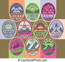 Mountain badges linear 2 mono