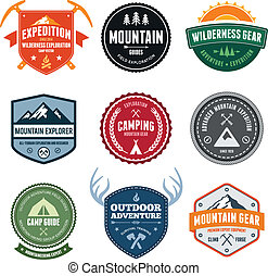 Mountain badges - Set of mountain adventure and expedition...