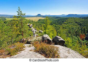 mountain Baerenstein in the Elbe sandstone mountains
