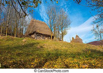 Mountain barn in autumn forest