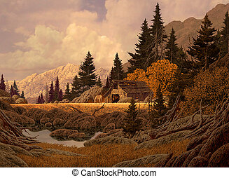 Mountain Barn - Image from an original painting by Larry...