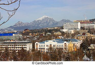 Mountain Beshtau and city Pyatigorsk,Northern Caucasus,Russia.