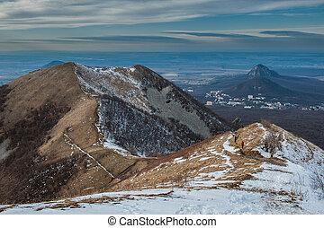 Mountain Beshtau at spring in Pyatigorsk, Russia