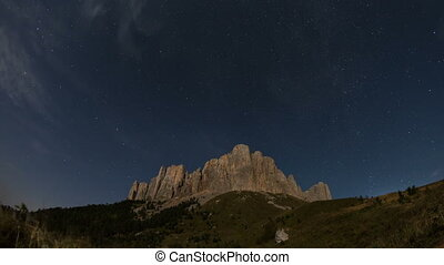 Mountain Big Thach under the starry sky