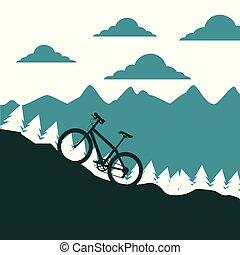 mountain bike ascending silhouette landscape vector illustration