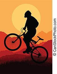 Mountain bike bicycle riders vector