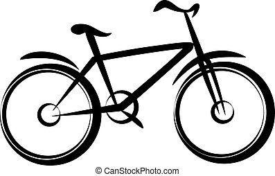 mountain bike, bicycle silhouette in simple black lines