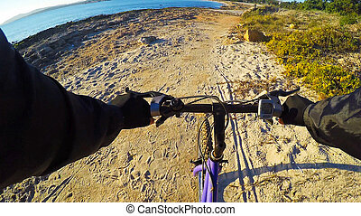 mountain bike by the sea