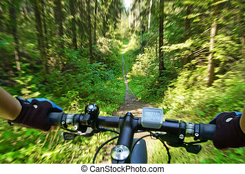 Mountain bike coming down the trail. First person view.