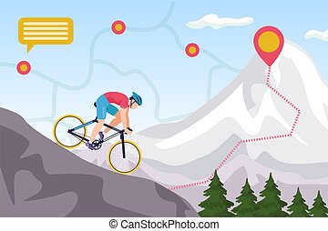 Mountain bike competition, biking extreme sport ride vector illustration. Downhill cycling. Man biker high jump on mountain with map signs.