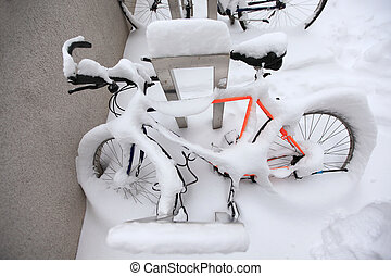 Mountain Bike Covered by a Lot of Snow