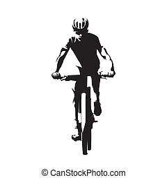 Mountain bike cycling, mtb, isolated vector silhouette....