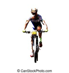 Mountain bike cycling, polygonal mtb cyclist. Isolated...