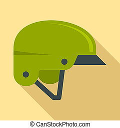 Mountain bike helmet icon, flat style