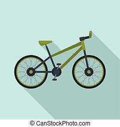 Mountain bike icon, flat style