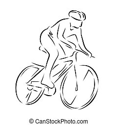 illustration of abstract figure on a bicycle