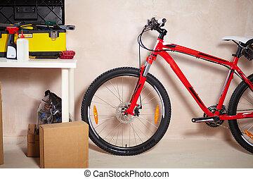 Mountain bike in garage - Image of mountain bike in garage