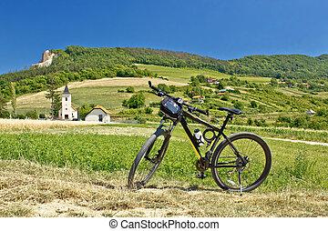 Mountain bike in green landscape