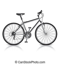 Mountain bike isolated on white vector - Mountain bike...