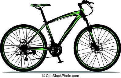 Mountain bike in black & green design.
