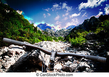 mountain bike on landscape background