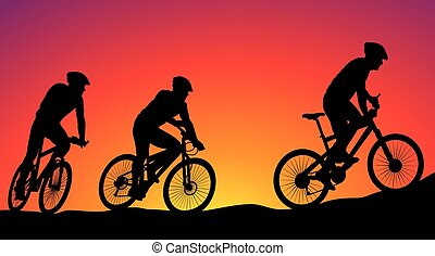 black silhouettes of cyclists on the background of sunset - cyclists ride on bike
