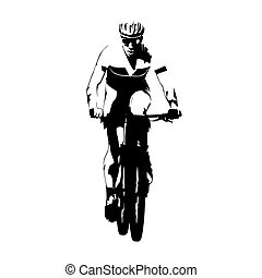Mountain bike racing, abstract vector cyclist silhouette, ...
