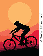 Mountain bike rider in wild mountain nature landscape background illustration vector