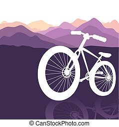bike silhouette on mountains nature background