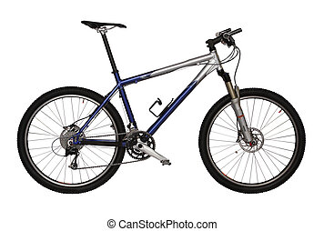 The blue bicycle. Isolated on a white background.