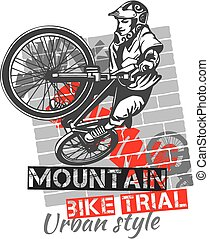 Mountain bike trial - vector design