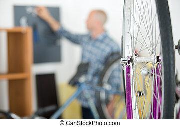 mountain bike wheel bike shop concept
