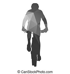 Mountain biker. Abstract geometric silhouette