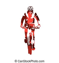 Mountain biker, abstract red vector silhouette
