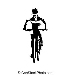 Mountain biker, abstract vector illustration. Cyclling