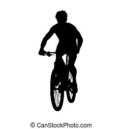 Mountain biker, cyclist vector silhouette