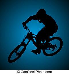 Mountain biker turning silhouette illustration.